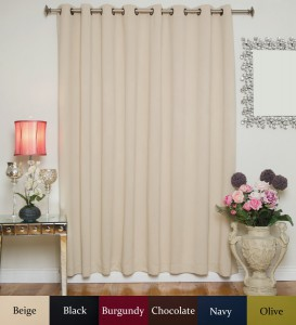 Beige Wide Width Antique Brass Grommet Top Thermal Insulated Blackout Curtain
