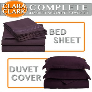 Clara Clark Complete 7-Piece Bed Sheet and Duvet Cover Set,