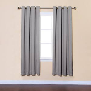Grey Solid Grommet Top Thermal Insulated Blackout Curtains Set