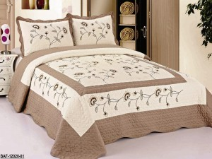 Taupe Very Soft Fully Quilted Embroidery Bedspread Bed Coverlets Cover Set