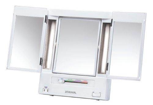 Jerdon JGL9W Tri Fold Lighted Mirror. Best Lighted Make up Mirror   A Very Cozy Home