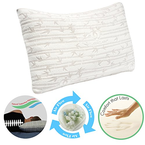 the pillow is made with 40 bamboo and 60 microfiber and is filled with 100 shredded memory foam the pillow adjusts nicely to your head and body