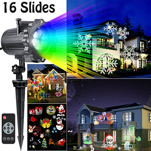 hottly christmas u0026 halloween light projector u2013 version bright with 16 slides dynamic lighting