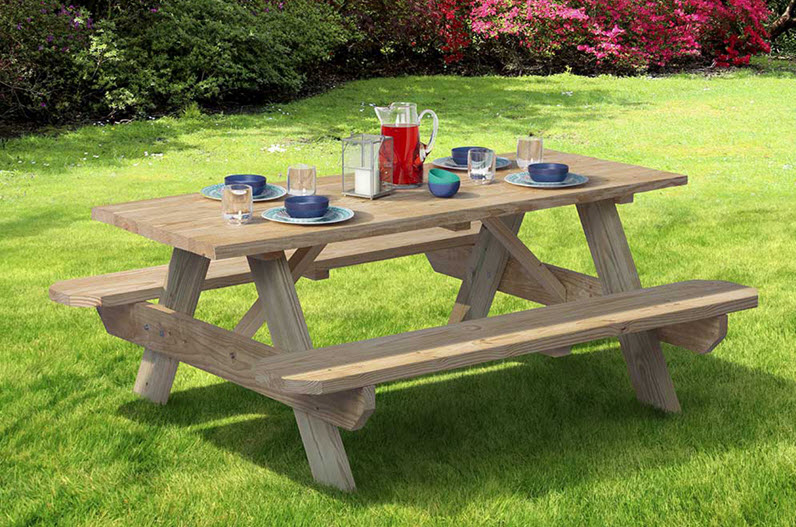 wooden picninc table for six people