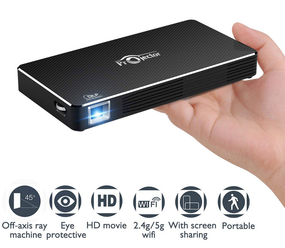 NEW1 Projector, Mini Portable Pocket Projector with 120 inch Display