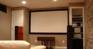 new basement with sofa projector screen and audio system