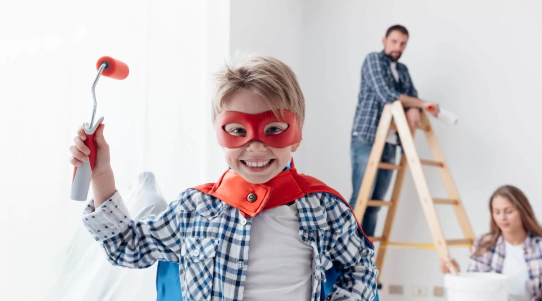 home renovation with son
