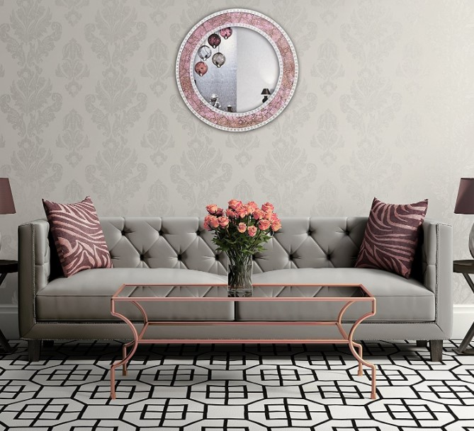 rose gold mirror for living room