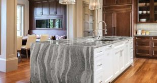 Kitchen-with-gray-quartz-countertop