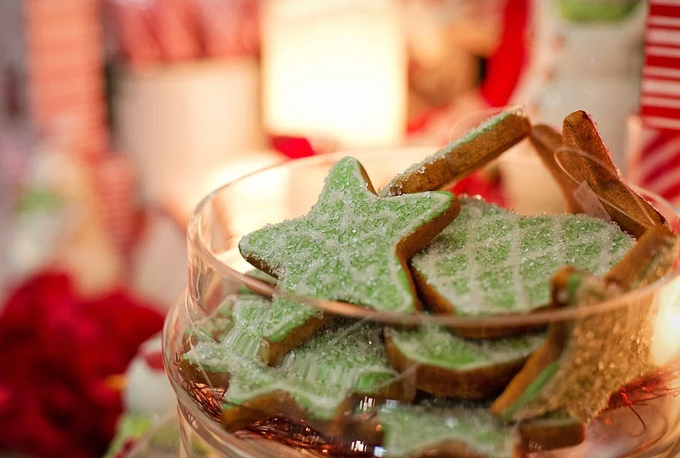 star-shaped cookies in jar for christmas