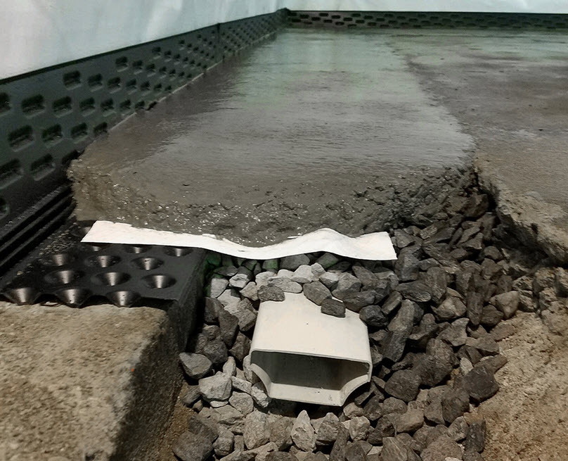 basement waterproofing and under floor drainage system