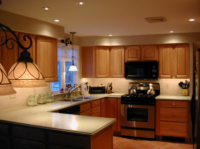 kitchen lighting with spot lights and main lights