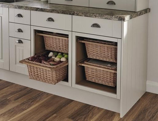 pull out whicker baskets as kitchen drawers