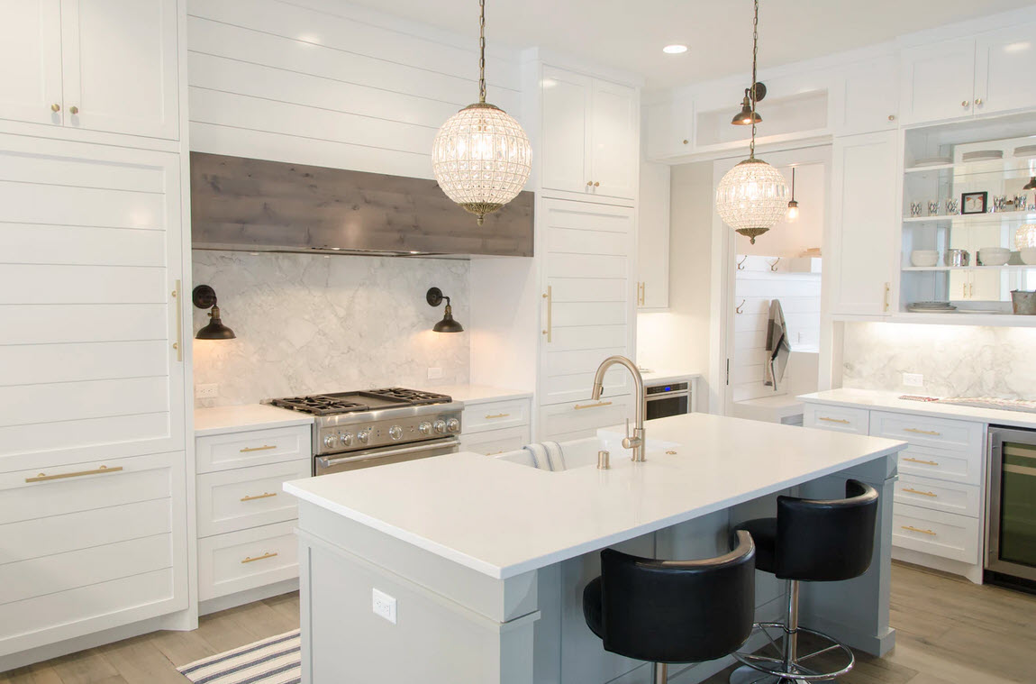 white cozy kitchen with intimate warm feel