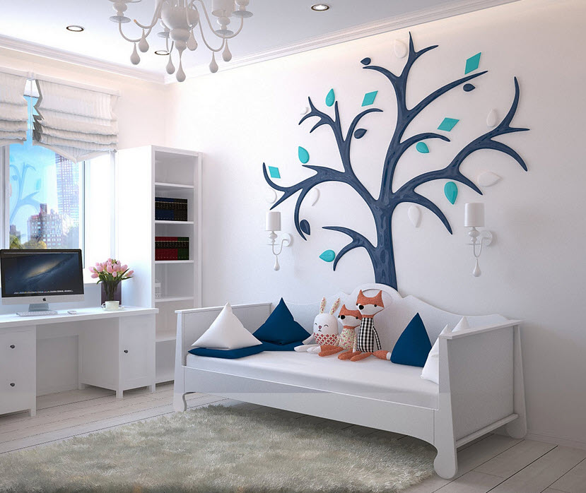 childrens bedroom white with blue tree on wall and blue pillows and ornage plush foxes