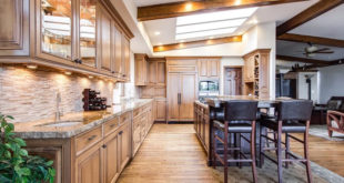 large classy modern kitchen with hardwood floors, cabinets and furniture