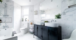 sparklilng clean marble bathroom