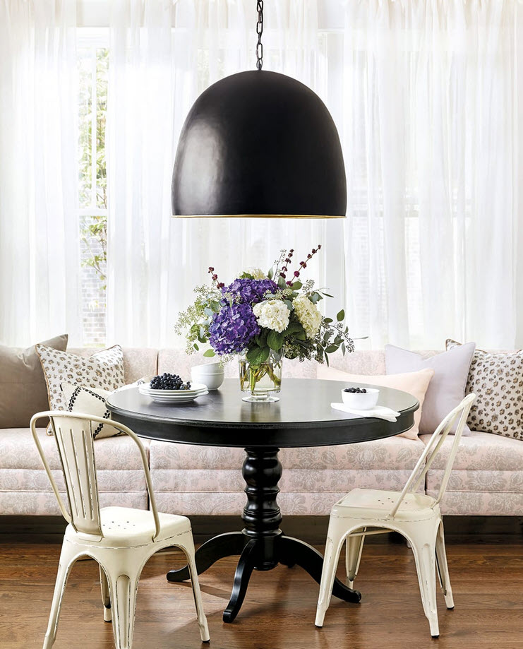 large bowl shaped light with chain