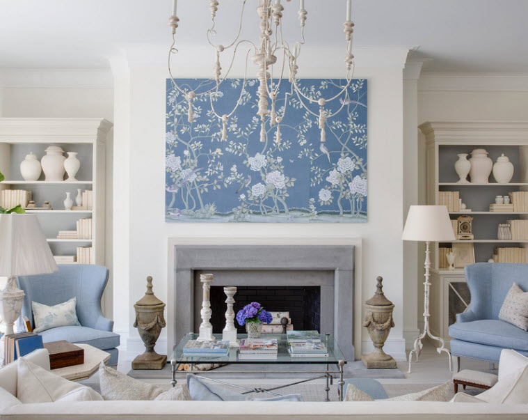 large light blue mural over fireplace