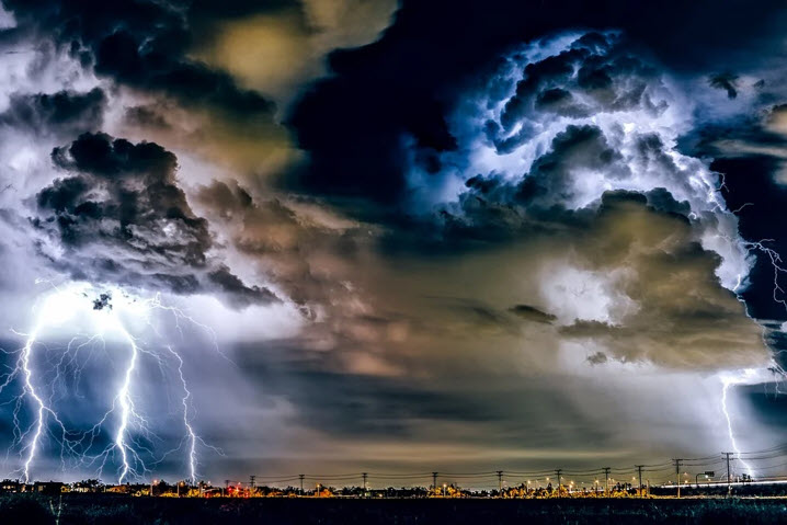 thunderstorm over town