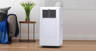 portable air conditioner sitting on the floor in room