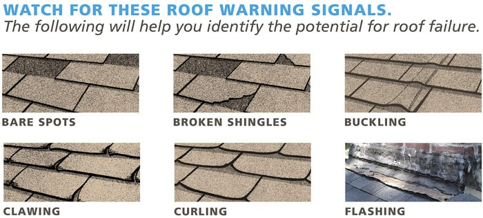 Curling roof shingles
