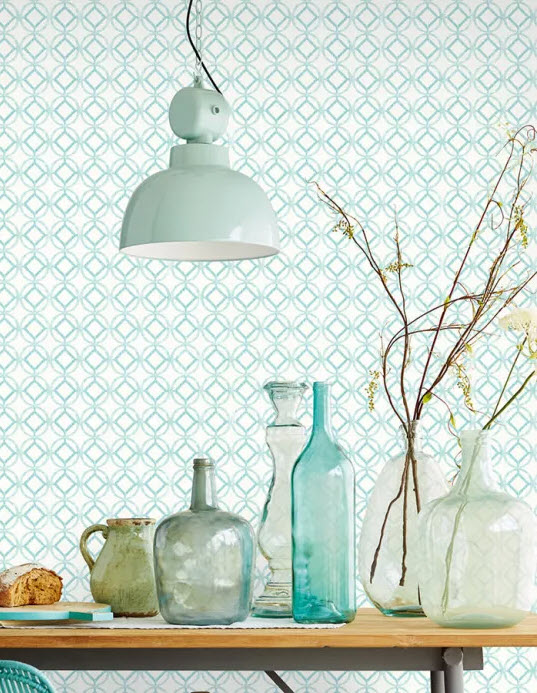 Geometric Print Vintage Wallpaper for Dining and Kitchen