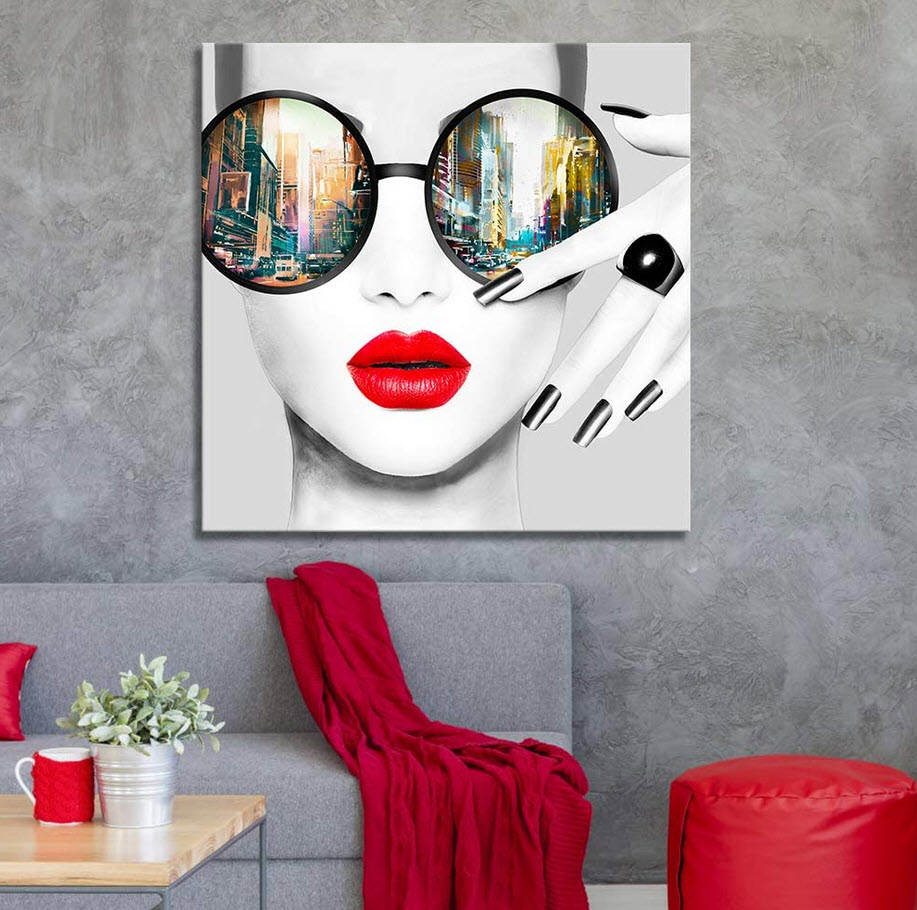 bold modern wall art in red and gray